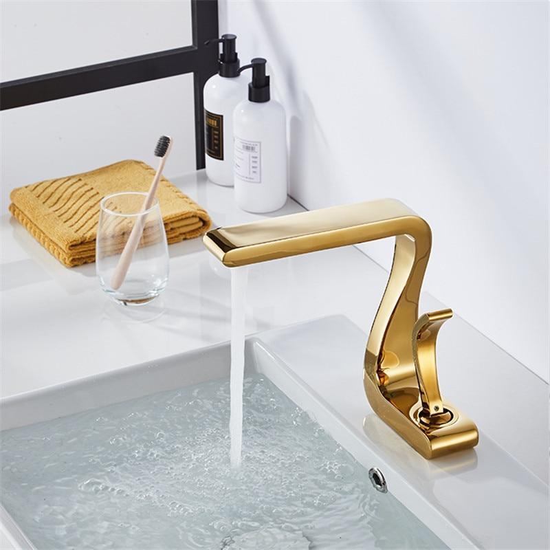 Tuqiu Basin Faucet Gold Bathroom Faucet Mixer Tap Brass Wash basin Faucet Hot and Cold Sink Tuqiu Basin Faucet Gold Bathroom Faucet Mixer Tap Brass Wash basin Faucet Hot and Cold Sink Faucet New Modern