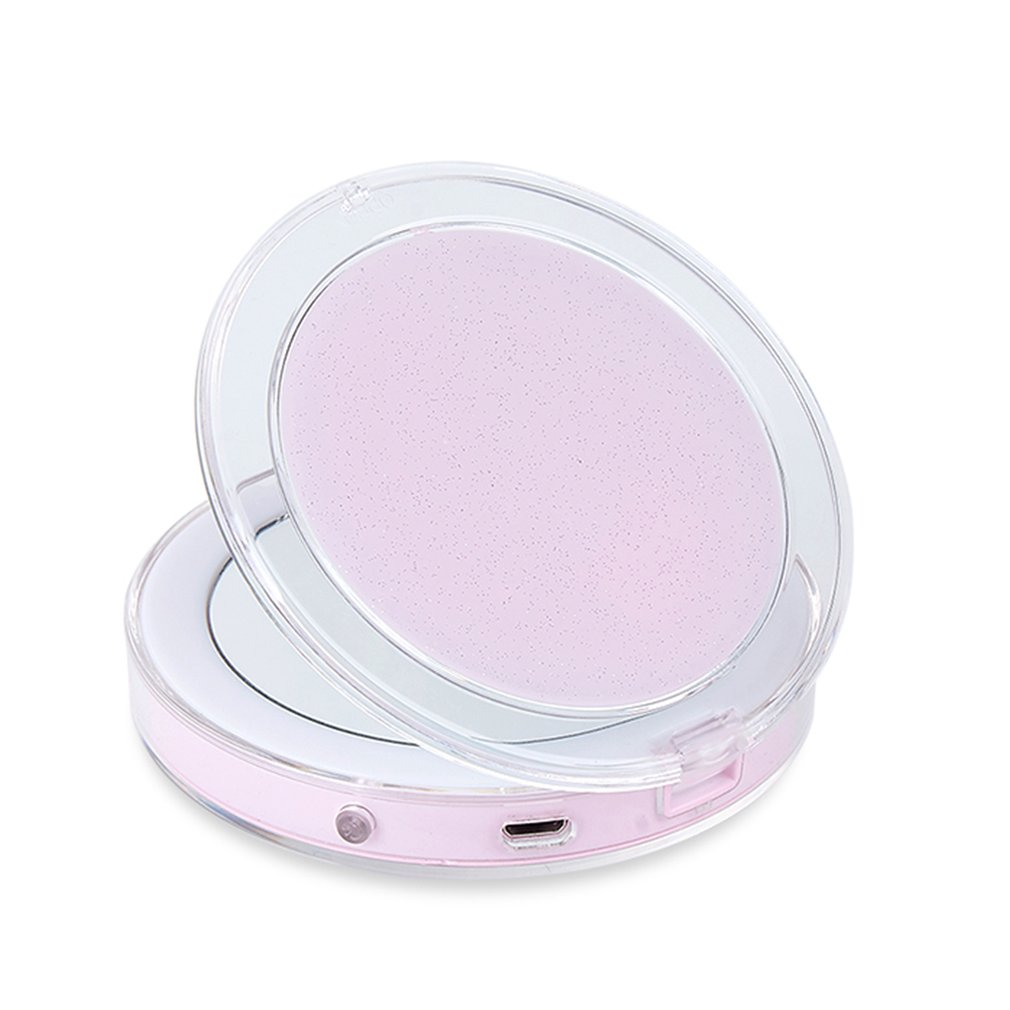 Women Foldable Makeup Mirrors Sensor LED Lights Lady Cosmetic Hand Mirrors With USB Cable New Arrival