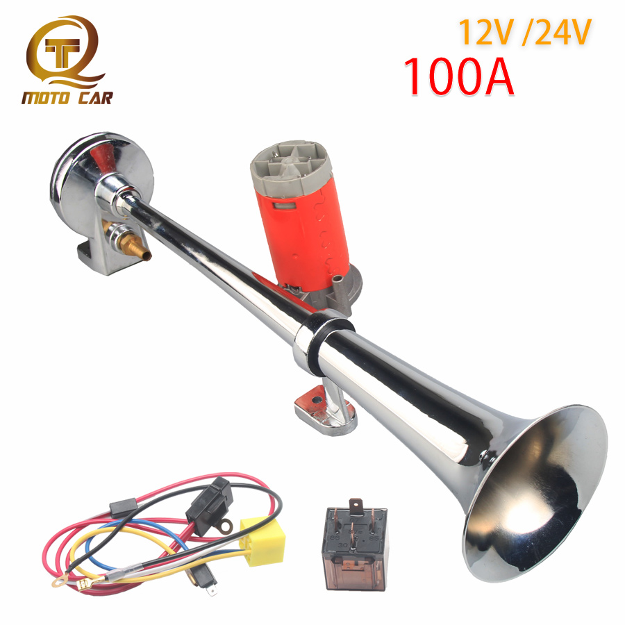 Universal ยานพาหนะ 12 V Air Horn Compressor ทรัมเป็ตเดี่ยว 150DB Loud Air Horn 24V สำหรับรถบรรทุกเรือ Moto เรือรถไฟ TONE ปั๊ม