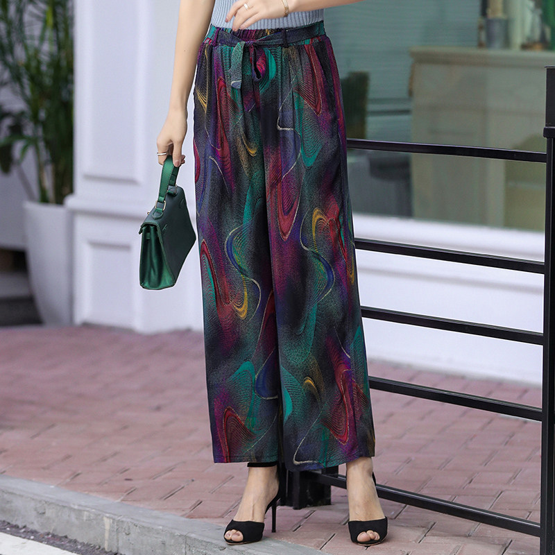 Loose   Wide     Leg     Pants   Women Plus Size XL-5XL High Waist Female   Pants   Summer 2019 Belt Bow Tied Print Bohemian Straight Trousers