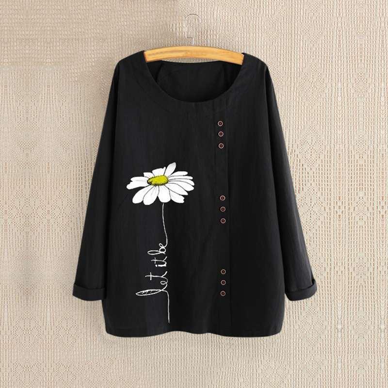 Fashion 2019 Women Long Sleeve Shirts Ladies Casual O Neck Blouse Vintage Flower Printed Blusas Female Tunic Tops Plus Size 5XL