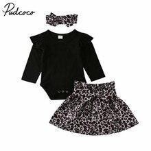 Коллекция года, весенне-осенняя одежда для малышей Одежда для новорожденных и маленьких девочек боди с длинными рукавами+ леопардовая юбка-пачка повязка на голову, комплект из 3 предметов