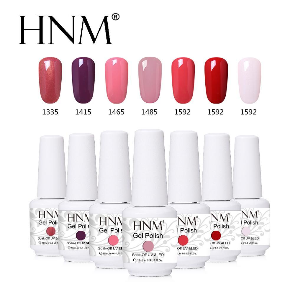 HNM 15ML New UV Gel Nail Polish Light Pure Glitter Colors Paint Nails Art Soak Off Stamping GelLak Hybrid Gel Varnish Lacquer