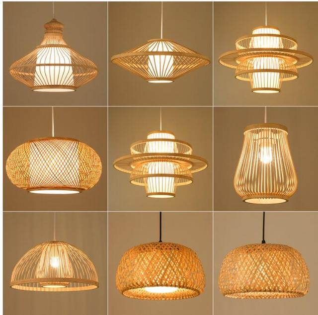Japanese-style Bamboo Retro Hanging Light Fixtures Wicker Pendant Light Living Room Hotel Restaurant Aisle Hanging Lamp Decor