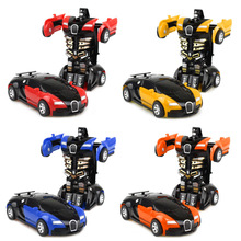 New Arrival One-key Deformation Car Toys Automatic Transform Robot Plastic Model Car Funny Toys For Boys Amazing Gifts Kid Toy one robot