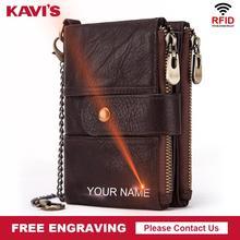 KAVISของแท้หนังแกะสลักฟรีRFIDกระเป๋าสตางค์ผู้ชายCrazy Horseกระเป๋าสตางค์กระเป๋าสตางค์ชายสั้นเงินกระเป๋าWaletคุณภาพ