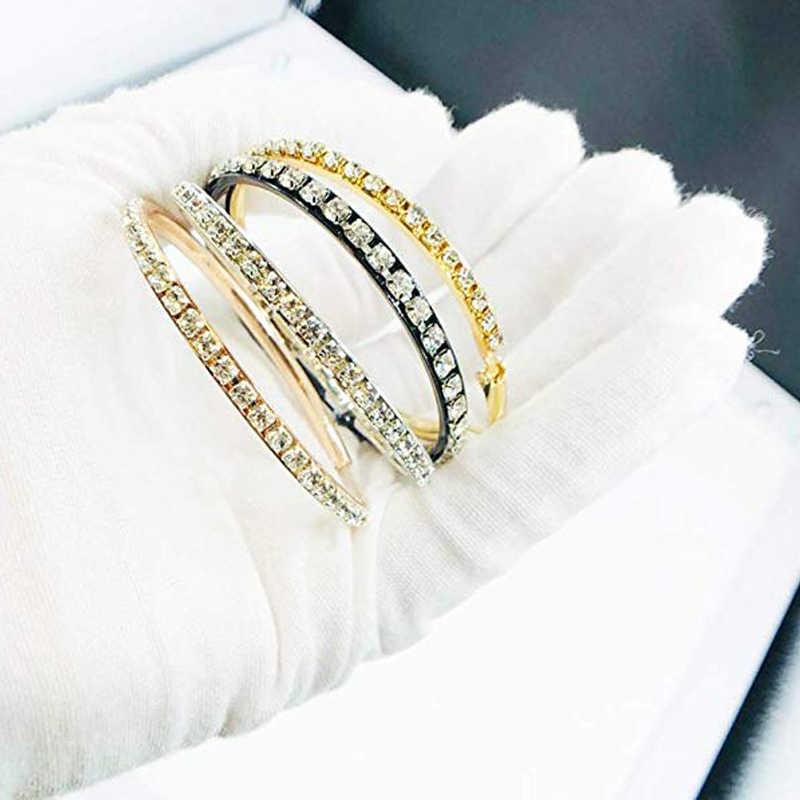 Thời Trang mới Bạc Đen Màu Vàng Pha Lê Tròn Bông Tai Cưới cô dâu Tuyên Bố Vòng Tròn Đôi Khuyên Tai Vòng Cho Nữ Trang Sức Dự Tiệc