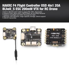 2019 HAKRC F4 Flight Controller Tower with Betaflight OSD BEC 4in1 20A BLheli_S ESC 200mW VTX for RC Racing Quadcopter Drone flycolor raptor s tower 4 in 1 12a blheli s esc 2 3s speed controller with osd no osd 20mm 20mm for rc mini drone quadcopter