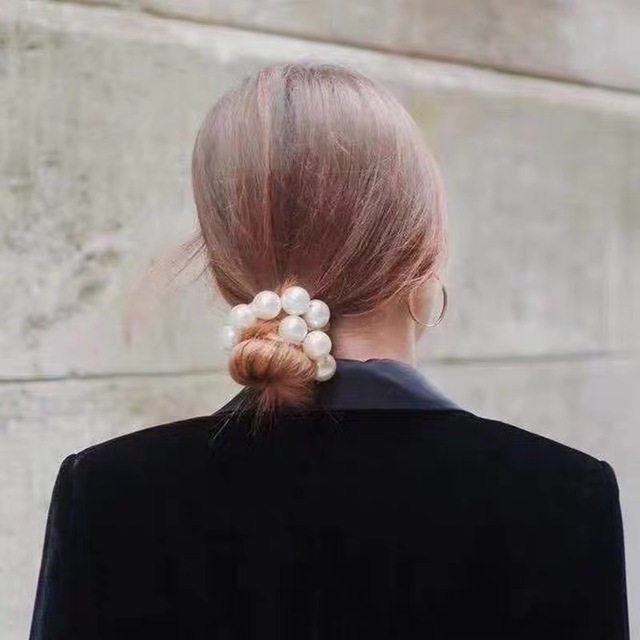 Ruoshui Woman Big Pearl Hair Ties Fashion Korean Style Hairband Scrunchies Girls Ponytail Holders Rubber Band Hair Accessories 4