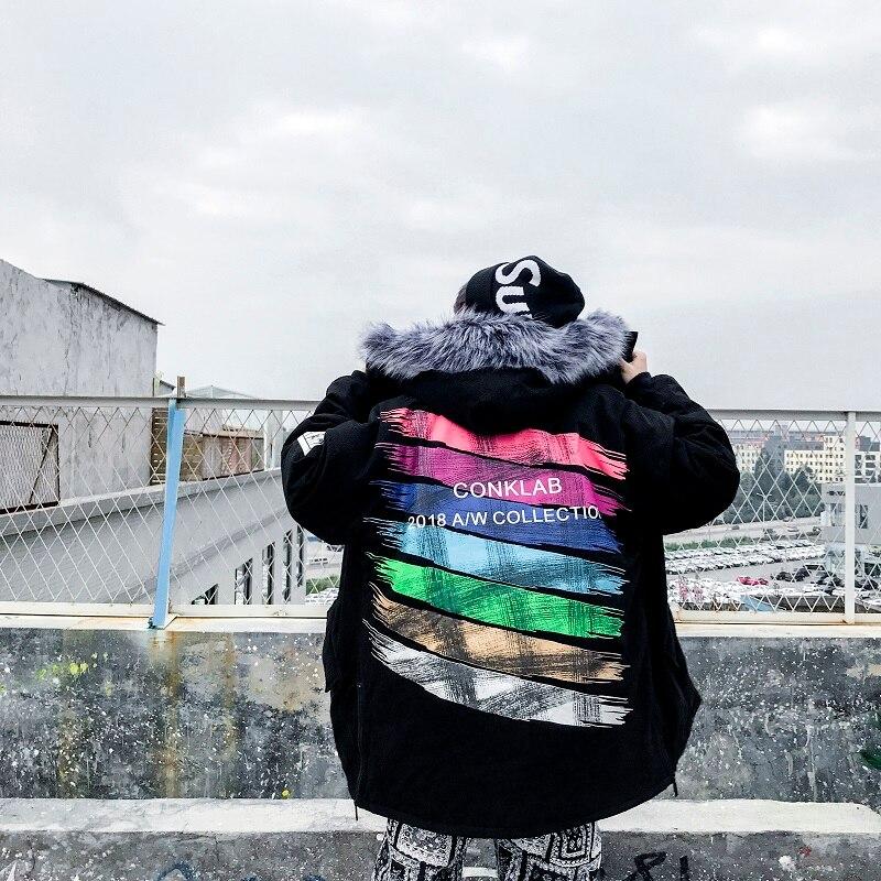 Couples Hip Hop hiver coton vêtements hommes longue Section coton veste marée marque manteau Oversize coton Parkas