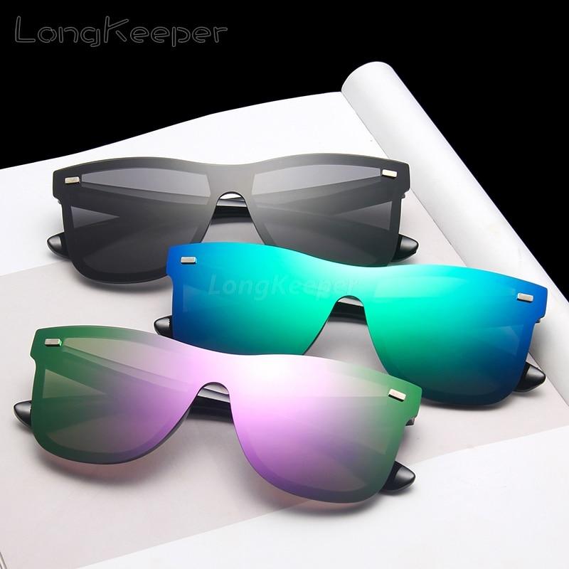 LongKeeper Brand Designer One-piece Sunglasses Men Women Rivet Rimless Sun Glasses for Driving Goggles Mirror Lens Gafas UV400 1