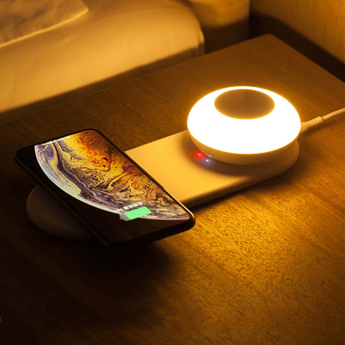 10W QI Wireless Charger USB Fast Charge LED Desk Lamp Home Hanging Night Light Gifts Phone Accessories Charging Station