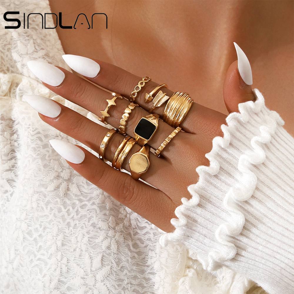 Zinc Alloy 10pcs Vintage Gold Star Ring for Women Charm Black Oil Drop Arrow Crystal Set Boho Female Finger Fashion Jewelry Gift
