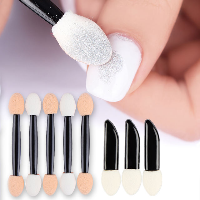 Sponge Nail Powder Puff Brush 20Pcs 50pcs Double-ended Double-sided Eyeshadow Stick Cosmetic Makeup Manicure Nail Art Tool
