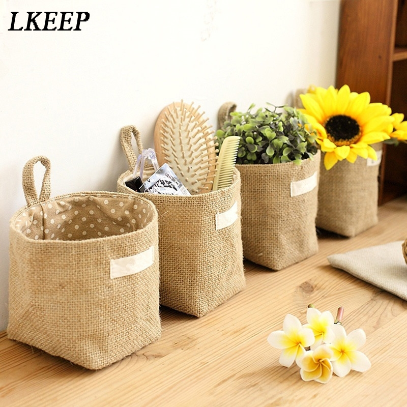 Large Capacity Women Cosmetic Box Jute Cotton Linen Sundries Basket Cosmetic Bag Wall Hanging Bags For Women