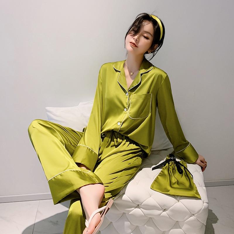 Daeyard Silk Pajama Sets For Women Luxury Long Sleeve Pyjamas Sleepwear Oversize 2 Pcs Button UP Pijama With Bags Sexy Homewear
