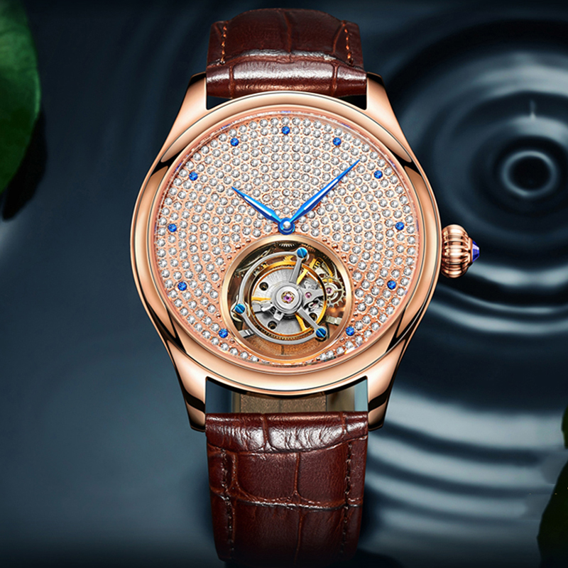 2019 Real Tourbillon Mechanical Hand Wind Sapphire Mens Watches Top Brand Luxury Rhinestone Clock men Gold Relogio Masculino 4