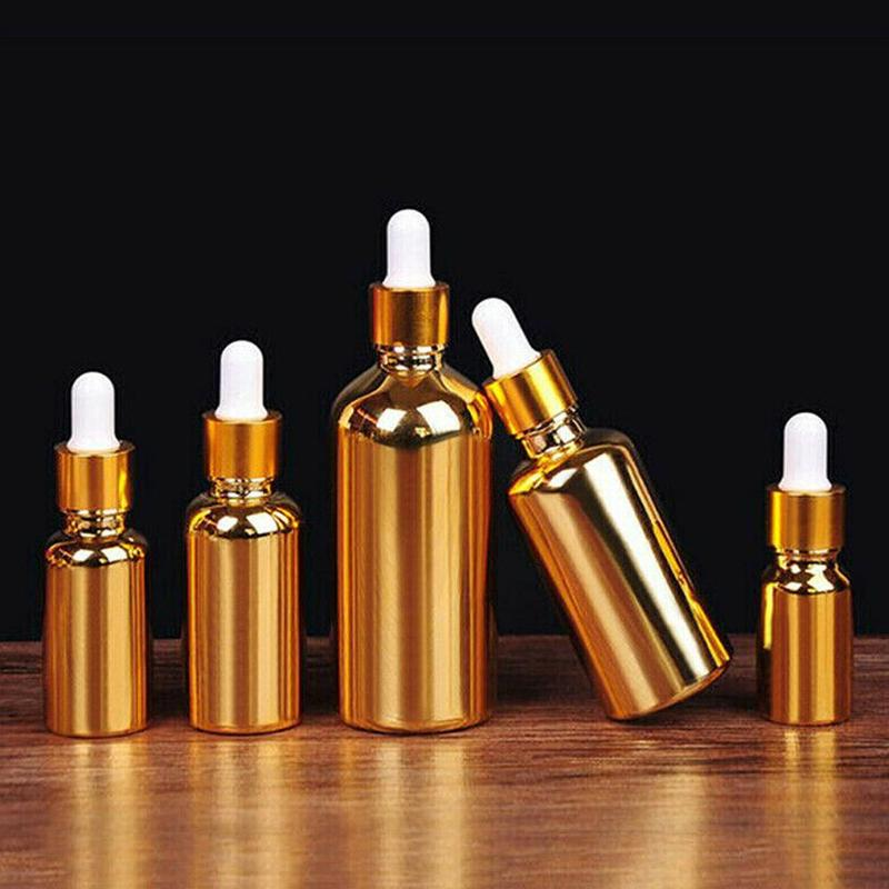 Empty Dropper Bottle For Perfume Essential Oils Liquid Deodorant Makeup Containers Refillable Golden Color Plating