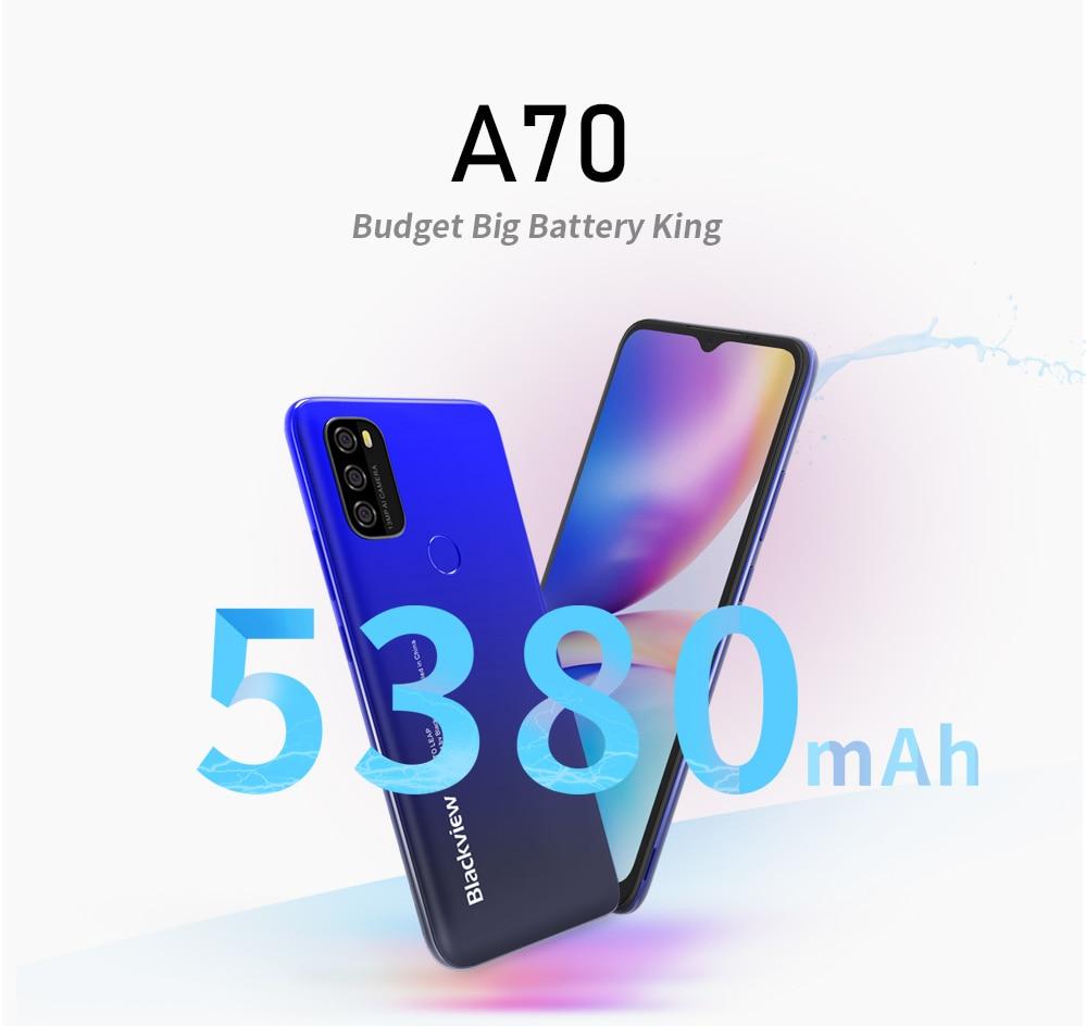 Blackview A70, 3 Гб оперативной памяти, 32 Гб встроенной памяти, сотовый телефон Face ID функцией отпечатков пальцев (Fingerprint ID), 5380 мА/ч, Батарея 6,517 дюймо...