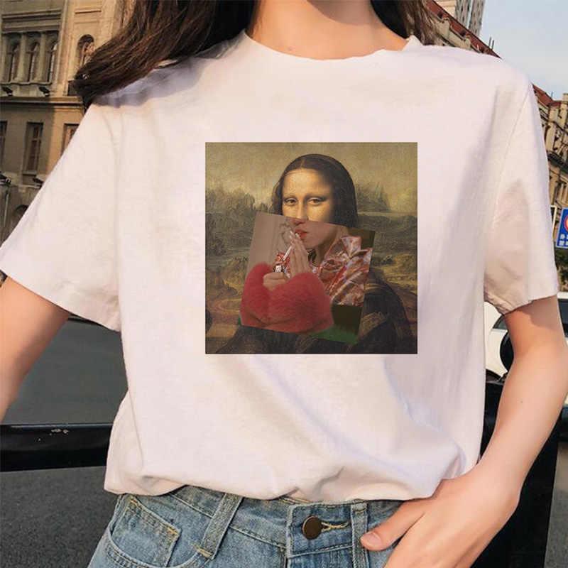 夏 Tシャツ女性パロディーモナリザ楽しいファッションプリント Tシャツパーソナリティ原宿おかしいカジュアル薄型セクション Tシャツ女性