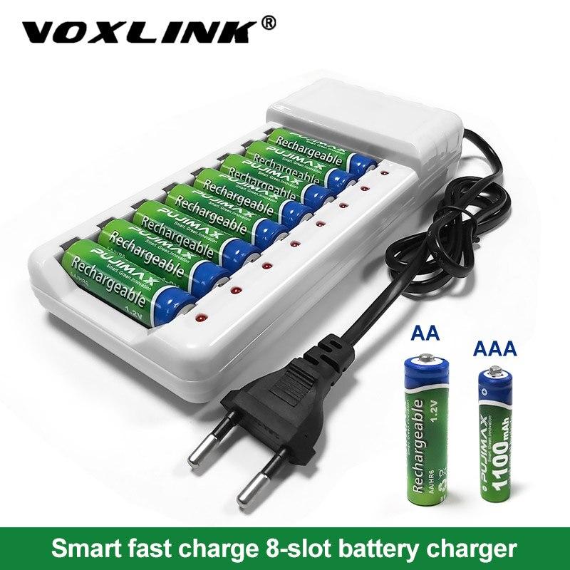 Voxlink 배터리 충전기 지능형 8 슬롯 eu 케이블 aa/aaa ni cd 충전식 배터리 원격 제어 마이크 카메라-에서충전기부터 가전제품 의 title=
