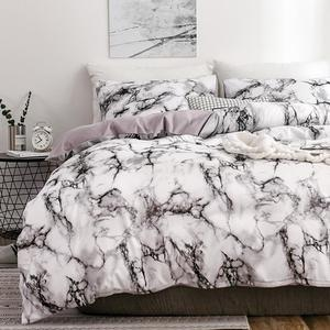 The Bedroom Bedding Is A Comfortable White Marble Pattern Printed Duvet Cover (2/3 Piece Set), Single And Double Super Large