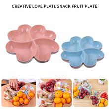 4-compartimento em forma de coração aperitivo servindo bandeja placas caixa de armazenamento frutas secas lanche pratos dividido doces sobremesa recipiente