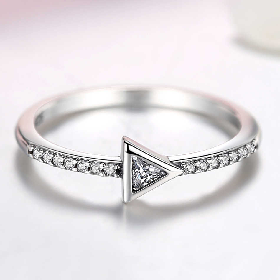 ELESHE Genuine 925 Sterling Silver Crystal CZ Wedding Rings for Women Geometric Triangle Finger Rings Fashion Statement Jewelry