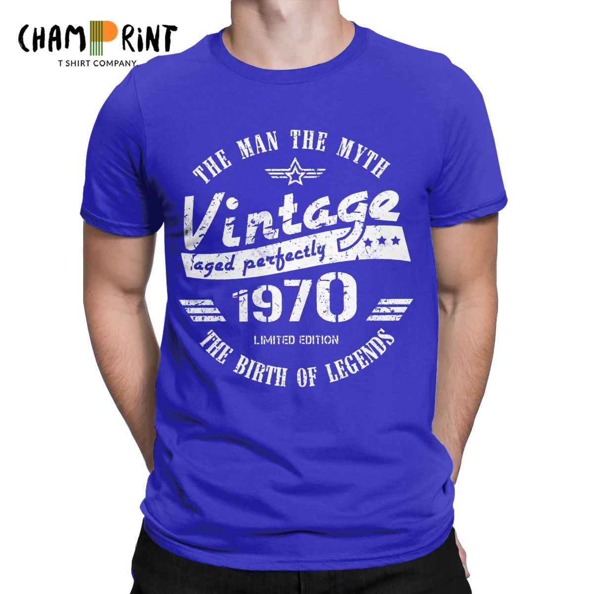 Retro <font><b>Vintage</b></font> <font><b>1970</b></font> T Shirts for Men <font><b>Vintage</b></font> T-Shirts Round Neck 50th Birthday Gift Idea Tee Shirt 50 Yeas Old Tops Plus Size image