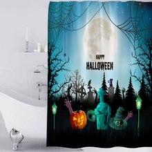 купить 1pc Waterproof Digital Printed Halloween Bathroom Ghost Polyester With Hook Ring Horror Quick Dry Decoration Shower Curtain 3D дешево
