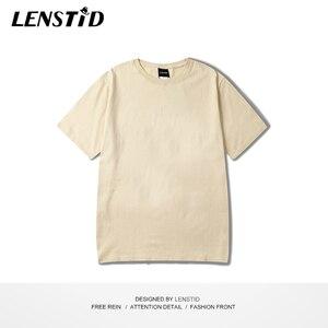 Image 5 - LENSTID Harajuku Plain T Shirt 2020 Estate 100% Degli Uomini Del Cotone Maglietta Bianca Streetwear Casual di Base Manica Corta T Shirt Magliette E Camicette Magliette