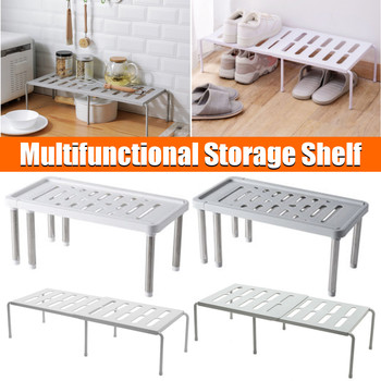 Adjustable Kitchen Bath Storage Rack Cupboard Shelf Home Closet Organizer Storage Shelf Wardrobe Shoe Organizers Saving Space