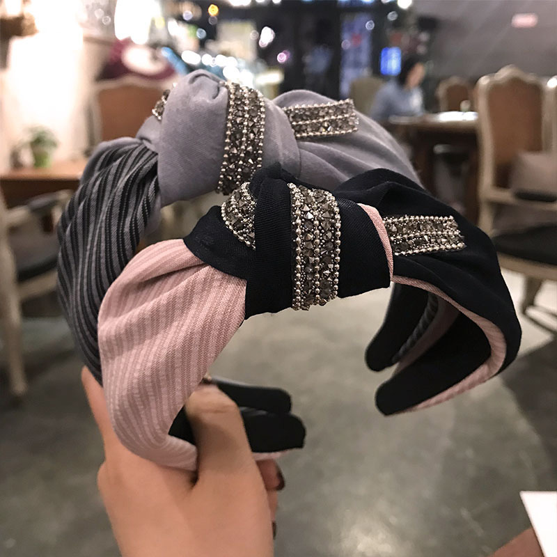 2020 New Women's Crystal  Knotted Headband For Women Wide Fabric Hairband Lady Hair Hoop Head Wrap Hair Accessories