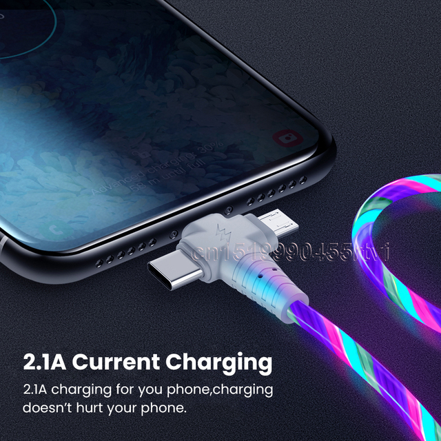 3in1 Flow Luminous Lighting usb cable for iPhone 12 11 Pro 3 in 1 2in1 LED Micro USB Type C 8Pin charger Wire for Huawei Xiaomi 4