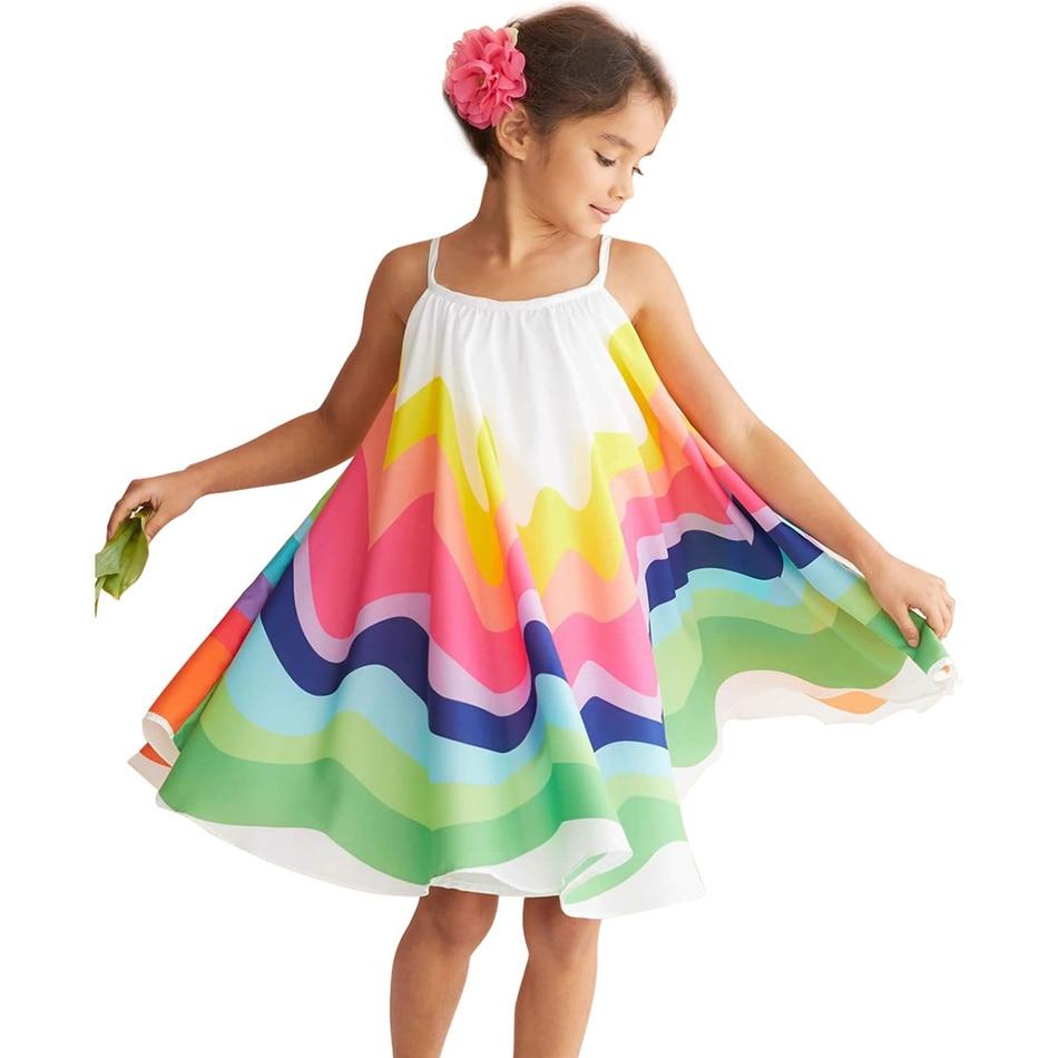 1 2 3 4 5 6 ans robe arc-en-ciel enfants été coloré Costume décontracté enfants bretelles vêtements robes de fête d'anniversaire fille