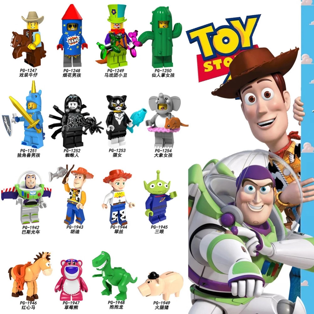 Toy Storyings Cartoon Figures Minnie Cowboy Costume Buzz Lightyear Clown E.T. Building Blocks Toys For Children Gift