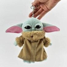 15cm Plush Mandalorian Baby Yoda Keychain Star Wars Figure Cute Yoda Silicone Key Chain Cartoon  Bag Car Keyrings