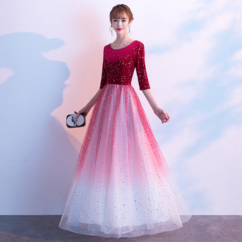 AE498 2020 Long Evening Dresses O-Neck A-Line Half Sleeve Sexy Tulle Elegant Women Evening Gowns Robe De Soiree