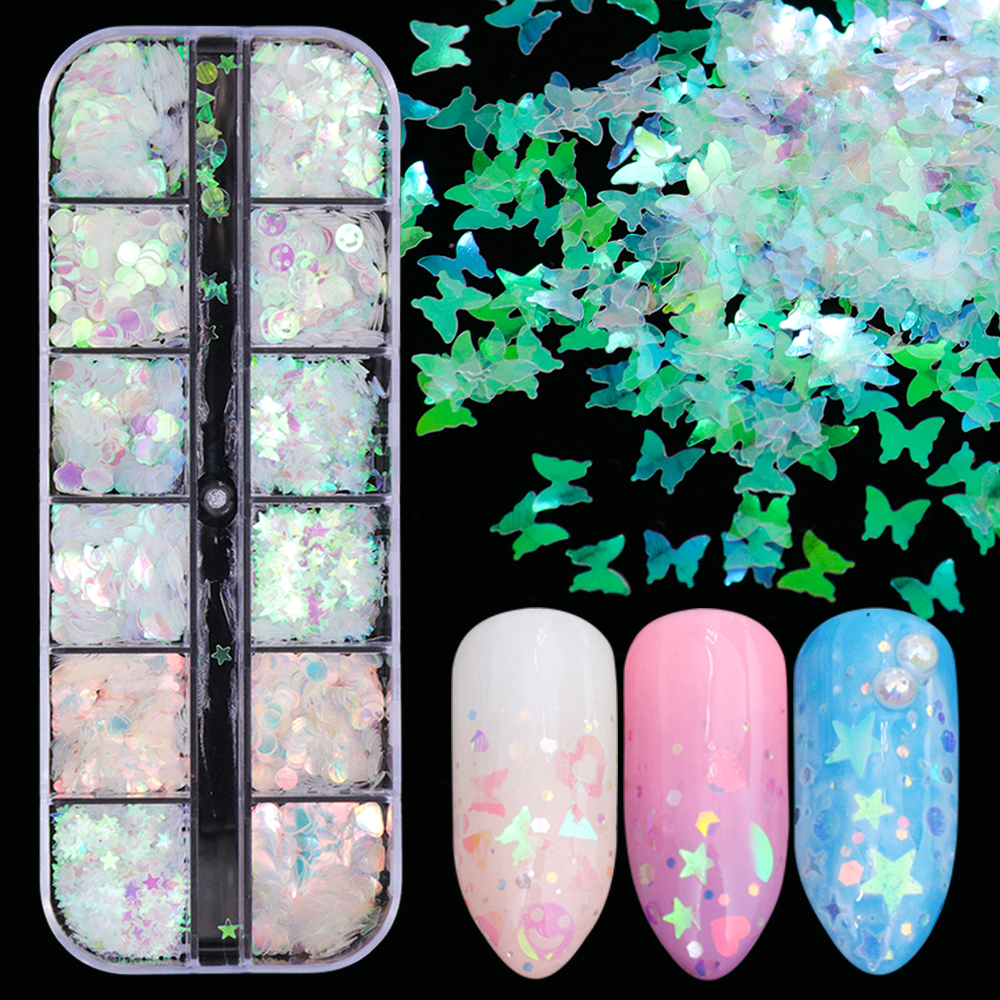 1case Mermaid Symphony Nail Art Glitter Sequins Flake Holographic Laser Mixed Shape 3D Butterfly Slice DIY Manicure Decor JIHW-2