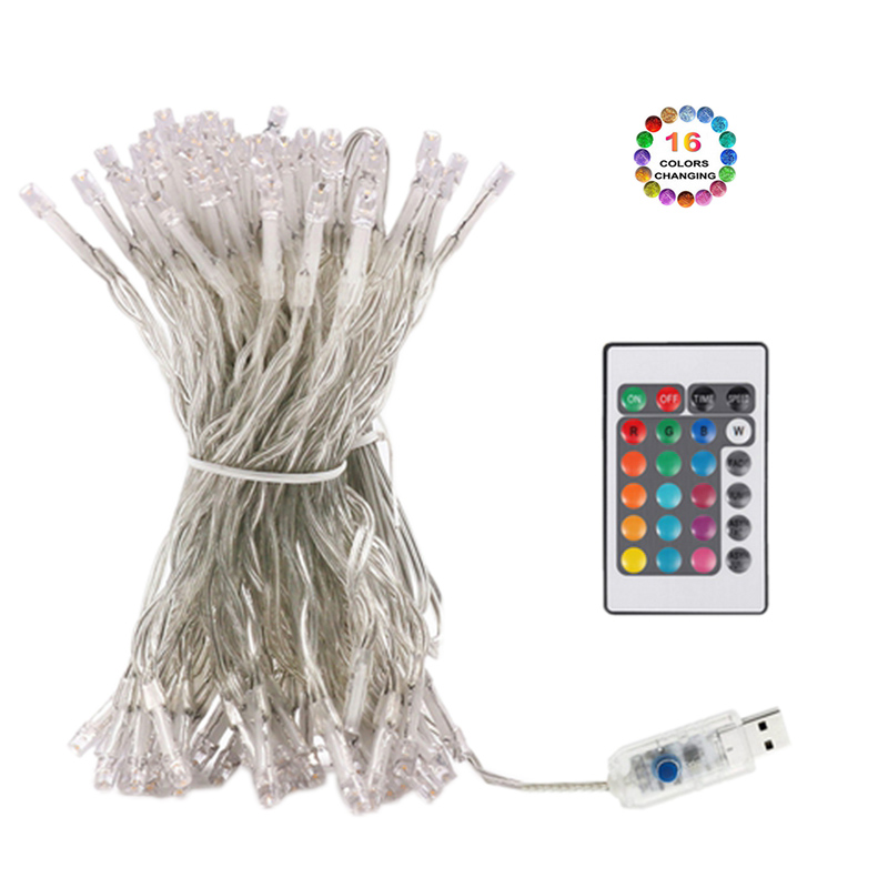 Christmas Led String Light 16 Color Changing Usb Holiday Lighting 8modes Remote Control Waterproof Fairy Garlands Outdoor Decor