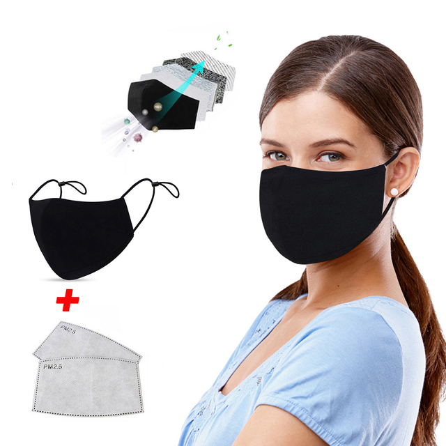 2Pcs Black Mouth Mask Anti Dust Mask Activated Carbon Windproof Mouth-muffle Bacteria Proof Flu PM2.5 Face Masks with 2 Filter