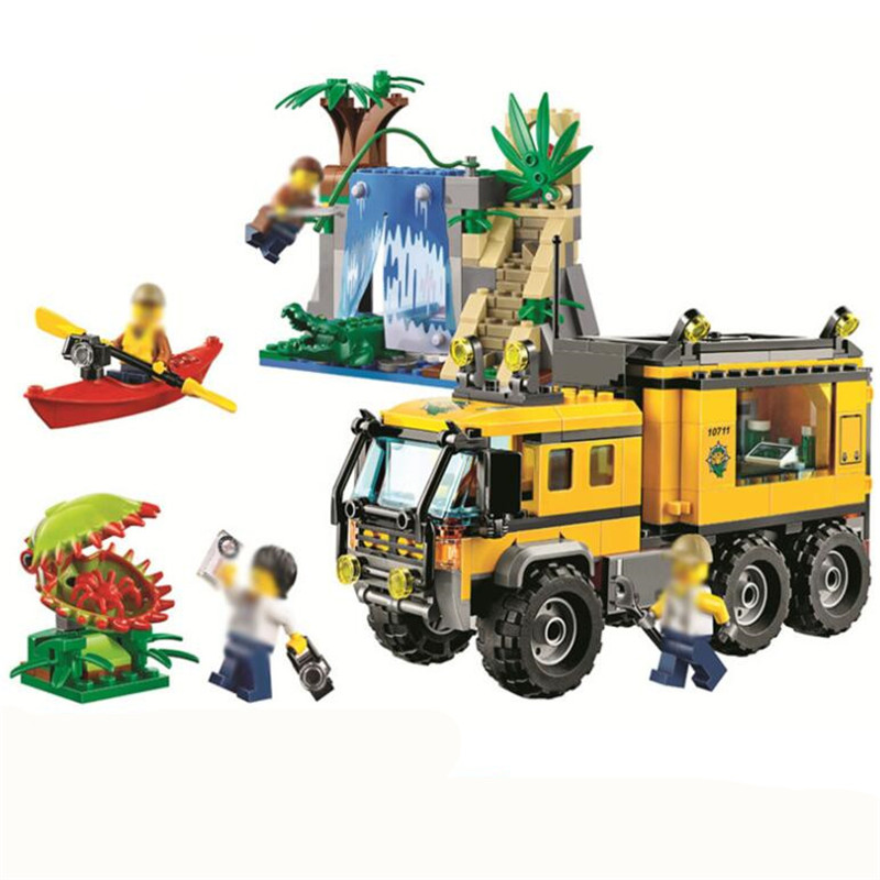 60160 460pcs Compatible Legoinglys City Police Series Jungle Expedition Team Mobile Lab Building Block Toy For Children Gift