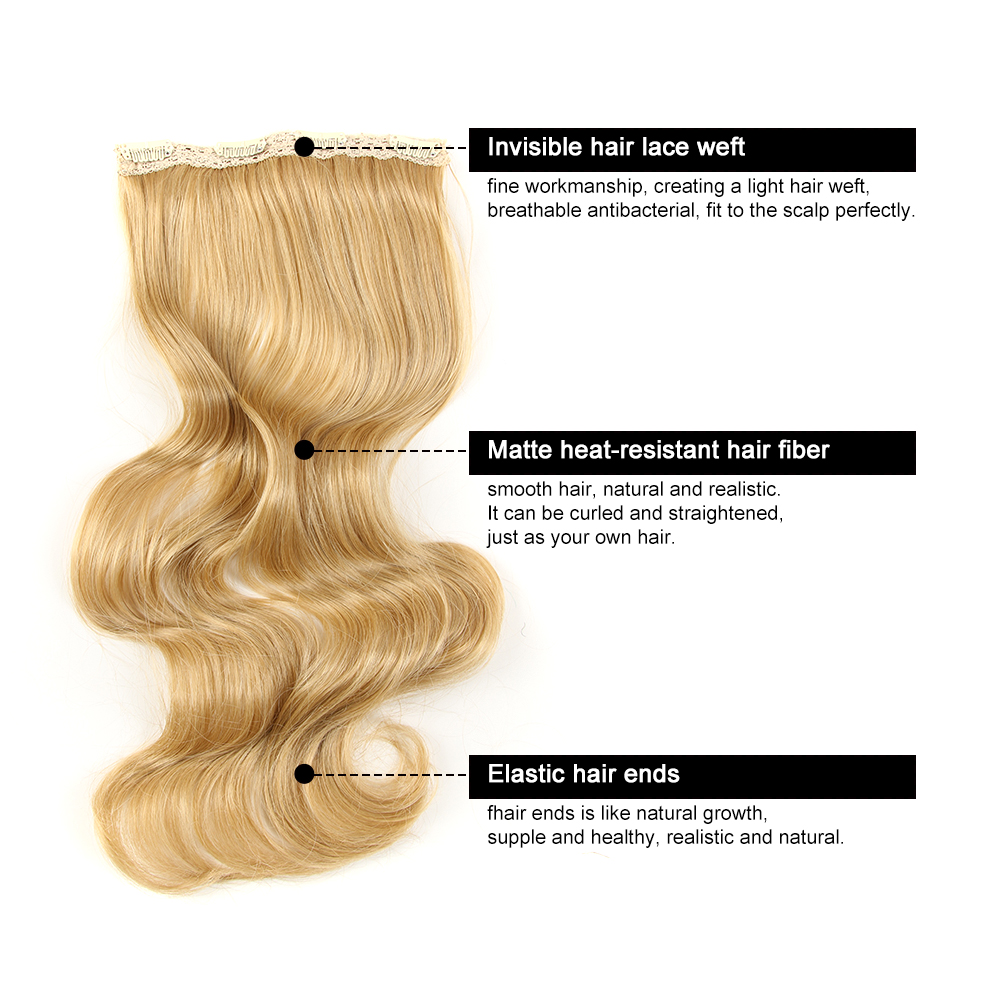 Noble Long Synthetic Hair Clip In Hair Extension Heat Resistant Hair Ombre Body Wave Clip In Hair