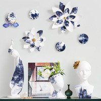 Chinese Style Blue And White Color Ink Simulation Lotus Flower Stereoscopic Resin Wall Accessories Home Wall Hangings X2914