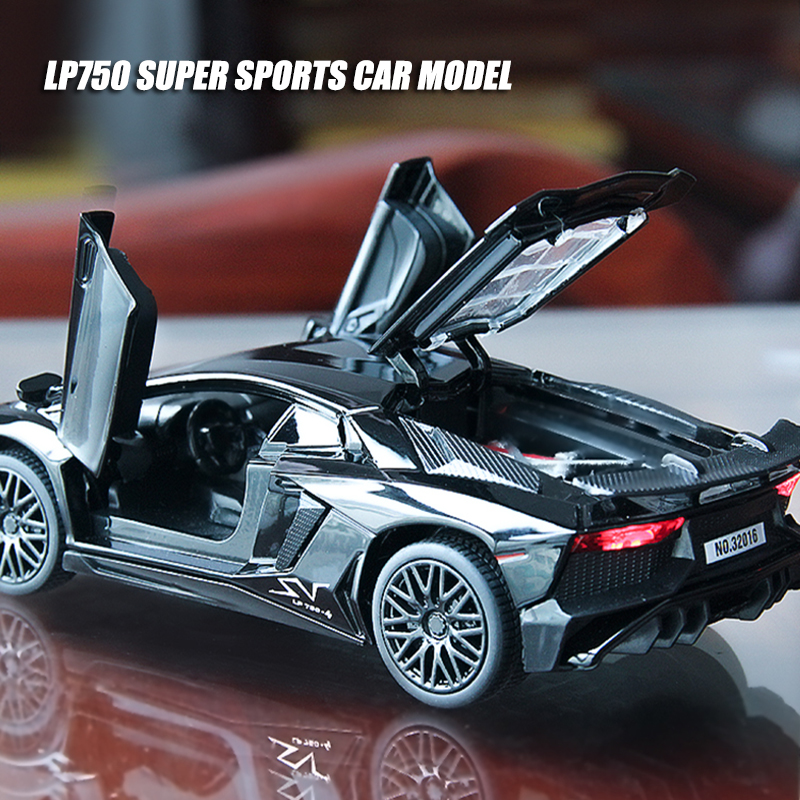 1:32 Scale Lamborghinis LP750-4 Diecast Toy Vehicle Alloy Car Model High Simitation Toys Cars For Children Kids Xmas Gifts