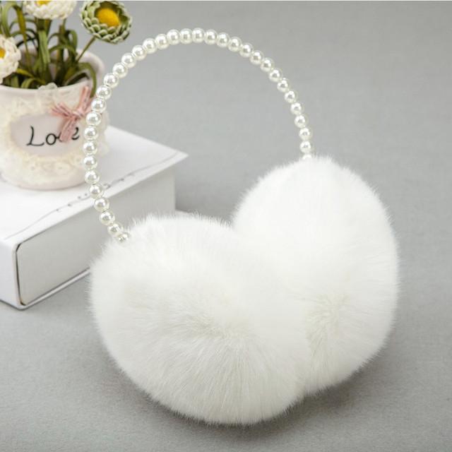 Pearl Winter Earmuffs Women Fur Earmuff Ear Warmers Girls Imitation Rabbit Plush Warm Ear Muff Ear Hair Accessories