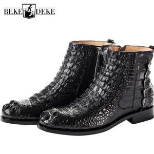 Shoes Men Ankle-Boots Chelsea Crocodile Winter Business-Zip British Office High-Quality