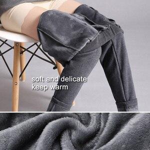 Image 4 - LOMAIYI Plus Kích Thước Mùa Đông Ấm Quần Lót Nữ Hàn Quốc Dài Thấm Hút Mồ Hôi Cho Nữ Quần Dài Nữ Đen Mềm Nỉ Cotton BW032