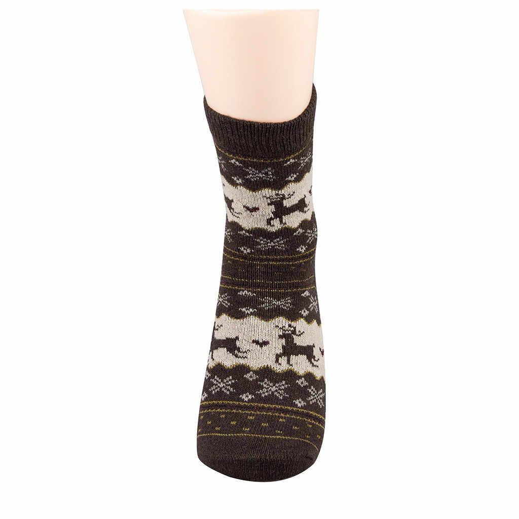 Mùa Đông Nữ Vớ Len Nam Giáng Sinh Giữa Bắp Chân Vớ Len Bông Tuyết Hươu Thoải Mái Tặng Bé Gái Dễ Thương Meias Nữ Sock # L20