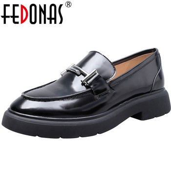FEDONAS Fashion Women High Heels Pumps Genuine Leather Metal Buckles Party Prom Pumps Sexy Spring New Loafter Shoes Woman